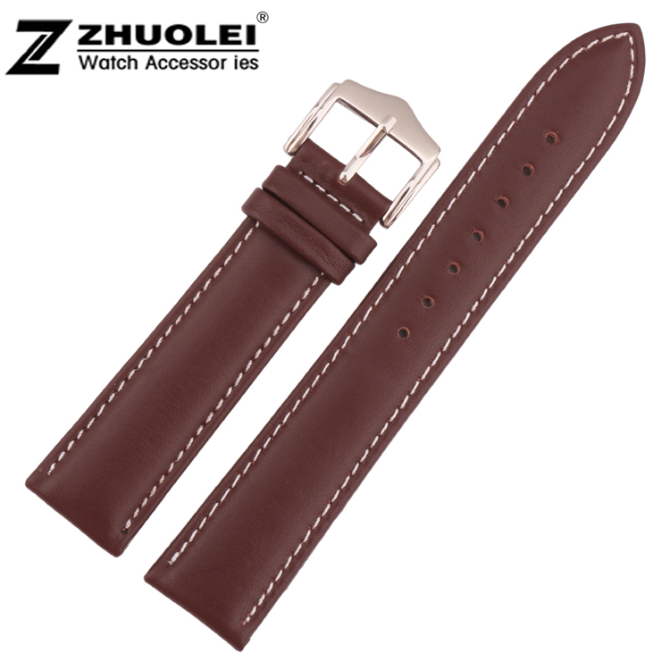 18mm 19mm 20mm 21mm 22mm Wholesale Price New Mens Genuine Leather Watch Band Strap Bracelets With White Stitched new mens genuine leather watch strap bands bracelets black alligator leather 18mm 19mm 20mm 21mm 22mm 24mm without buckle