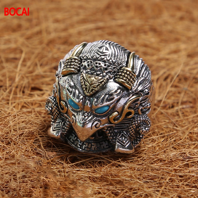 925 Thai silver restoring ancient ways ring inlaid stone desert seals ring single men to quit 925 silver men s ring thai silver national wind restoring ancient ways domineering silver ring pop open wholesale offered