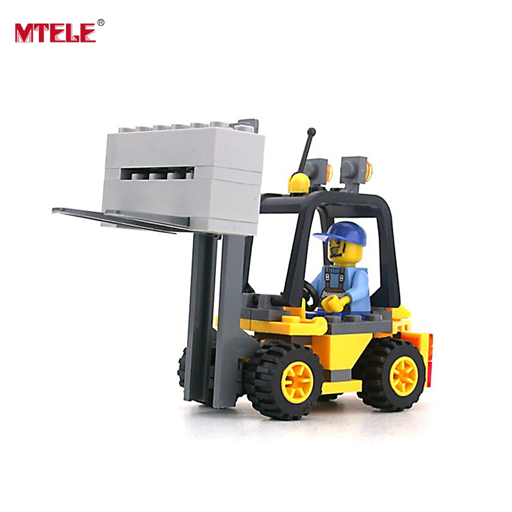 MTELE Brand 8041 Toy Building Blocks figures Gift for Kids Forklift Boy Building Bricks Kit High Quality Compatible with Lego gudi new private aircraft passenger airport building blocks bricks boy toy compatible with kids toys for children gift