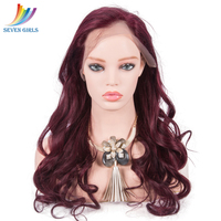 Sevengirls Peruvian Glueless 99J Lace Front Wig Preplucked With Natural Hairline Natural Wave Virgin Human Hair Free Shipping