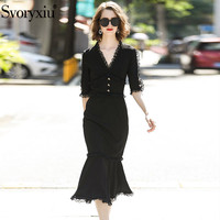 Svoryxiu Designer Sexy Lace V Neck Black Party Dress Women's Half Sleeve Chic Button Package Buttocks Mermaid Midi Dress Autumn