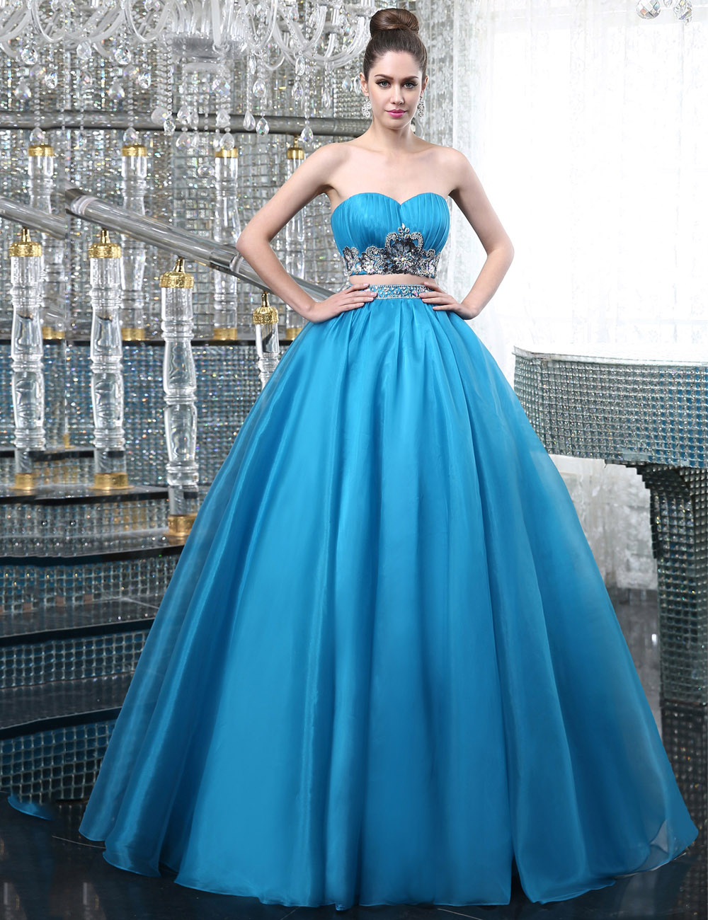 Sky Blue Long Prom Dresses 2018 Sexy Two Pieces Crystal Beads Formal ...