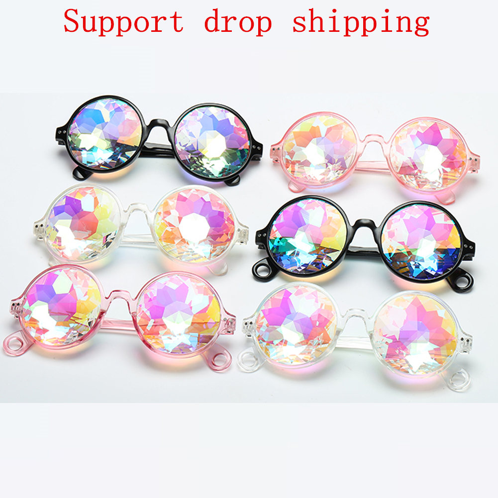 SOZO TU Retro Round Kaleidoscope Sunglasses dancing party Men Women Kaleidoscope lens Glasses retro de sol Rave Festival gozluk