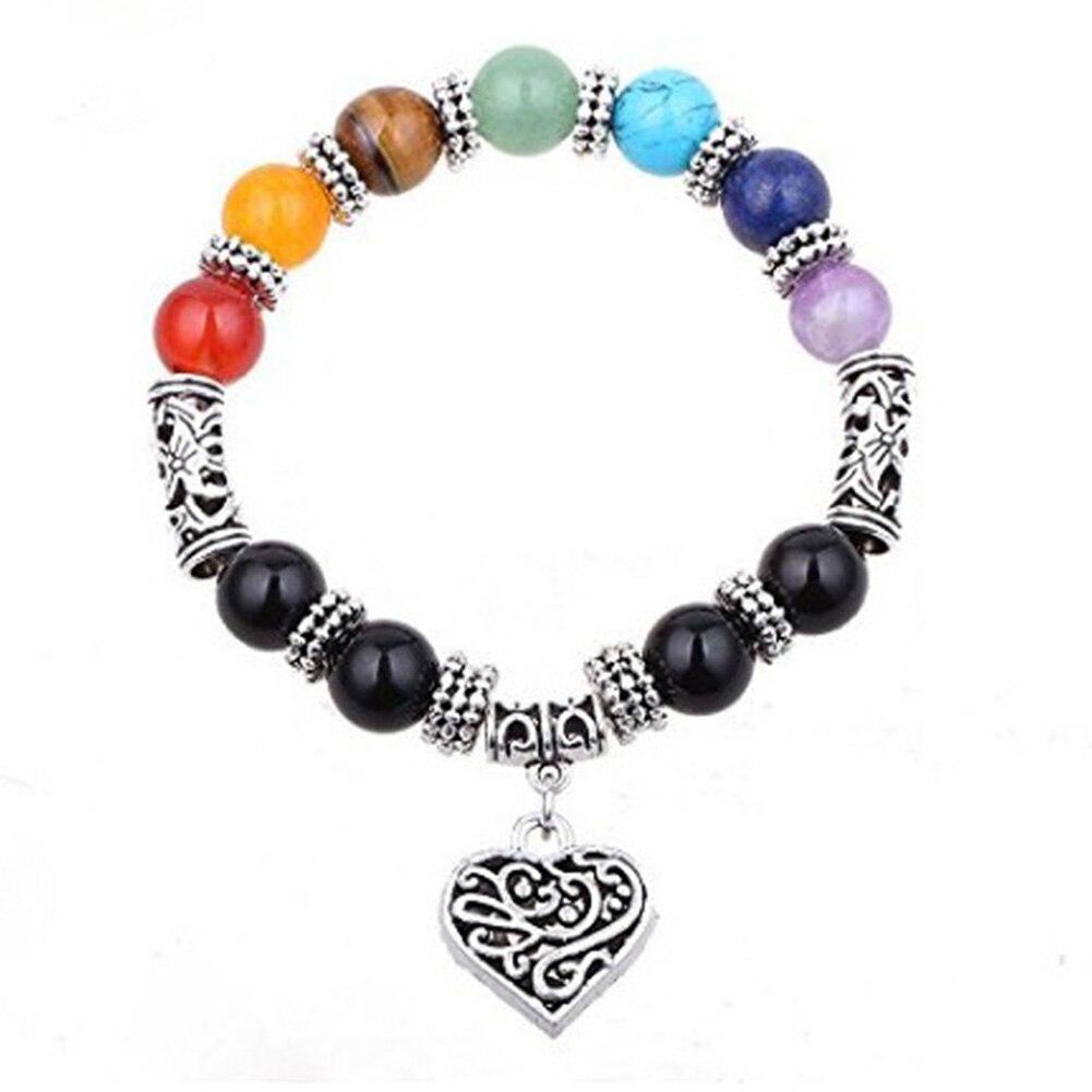 Original Rainbow Colorful Simulated Stone Yoga Energy Peach Heart Bracelet Women Girl Lucky Gift