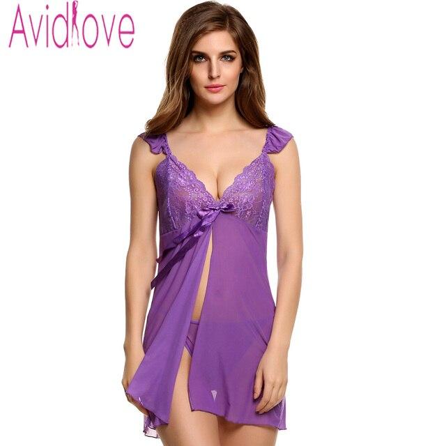 d9a343bce67 Avidlove Stylish Women Sexy Lingerie Dress Spaghetti Strap Front Split Sleepwear  Pajamas Lace Erotic Babydolls + G-String U2