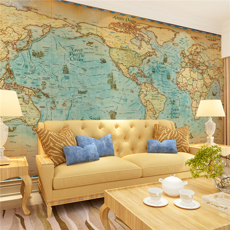 Large murals retro world map charts lobby bar living room sofa bedroom TV l wallpaper  mura