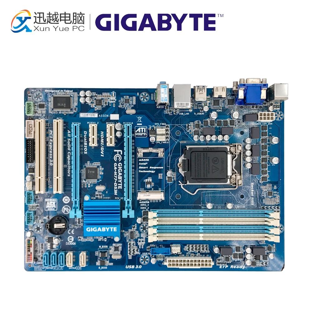 Gigabyte GA-H77-DS3H Desktop Motherboard H77-DS3H H77 LGA 1155 i3 i5 i7 DDR3 32G SATA3 ATX цена
