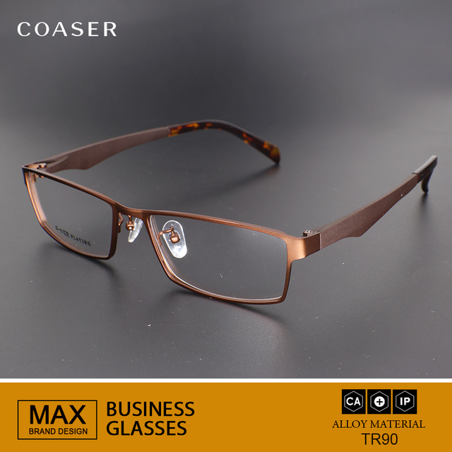 e75f9c159e8 COASER Men Glasses Frame Full Square Big Wide Metal Reading Myopia Optical  Prescription Computer Eyeglasses Clear