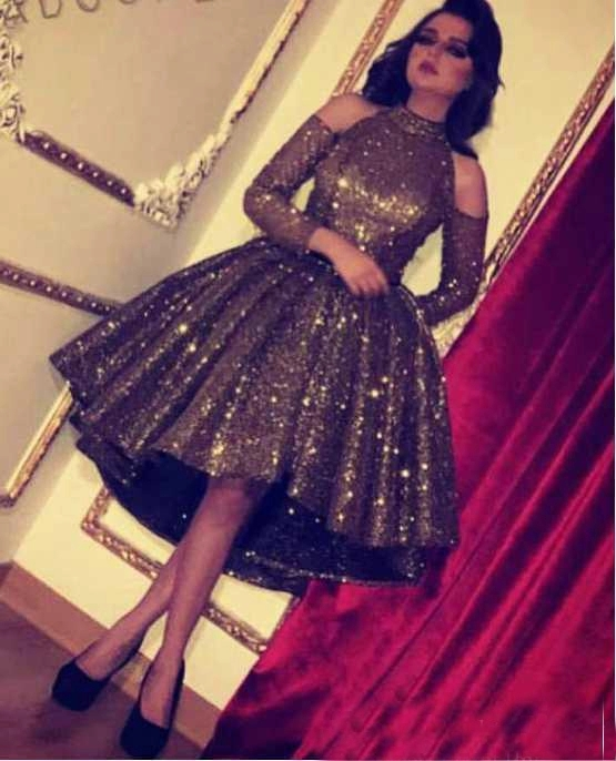 2019 Bling Black Sequin Crystal Short Prom   Cocktail     Dresses   Ball Gown High Low High Neck Long Sleeve Party   Dress