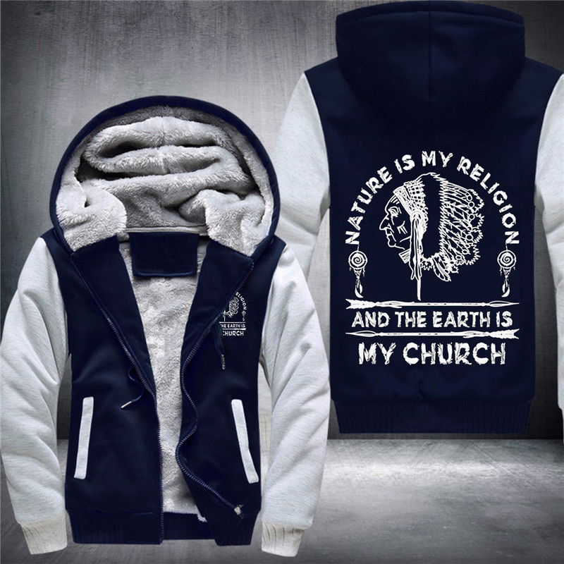 36 Duong Nature Is My Religion And The Earth Is My Church  Men's Fashion Thickened Hoodies