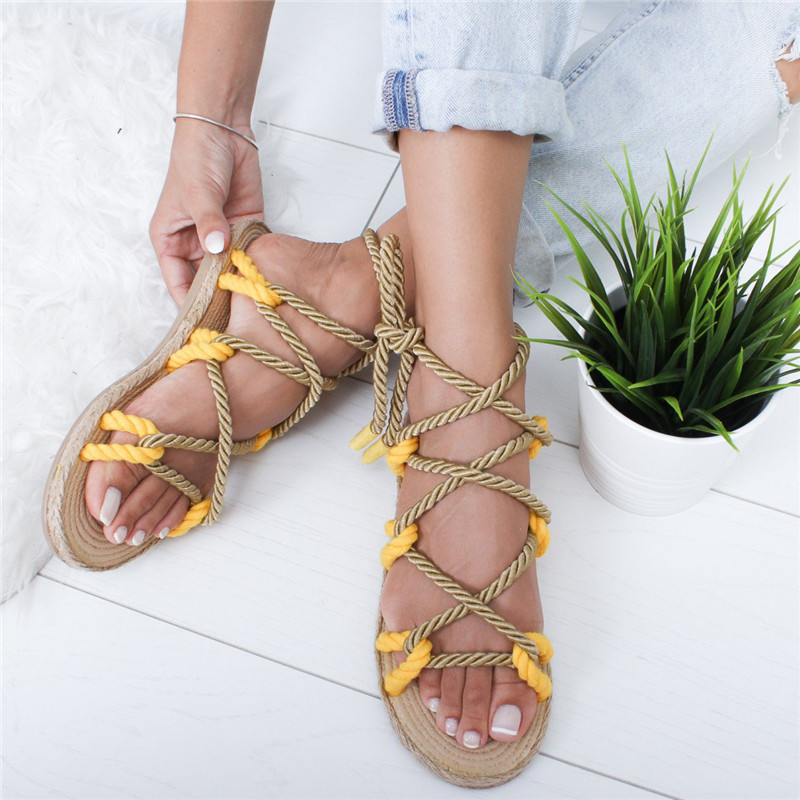 Fashion Women Sandals 2019 Contracted Rome Stagger Hemp Rope Women Sandals Casuals Ankle Strap Cross tied Women ShoesFashion Women Sandals 2019 Contracted Rome Stagger Hemp Rope Women Sandals Casuals Ankle Strap Cross tied Women Shoes