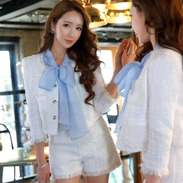 Original New Arrival 2016 Brand Autumn and Winter Tassel Elegant Woolen Shorts Women White Wholesale