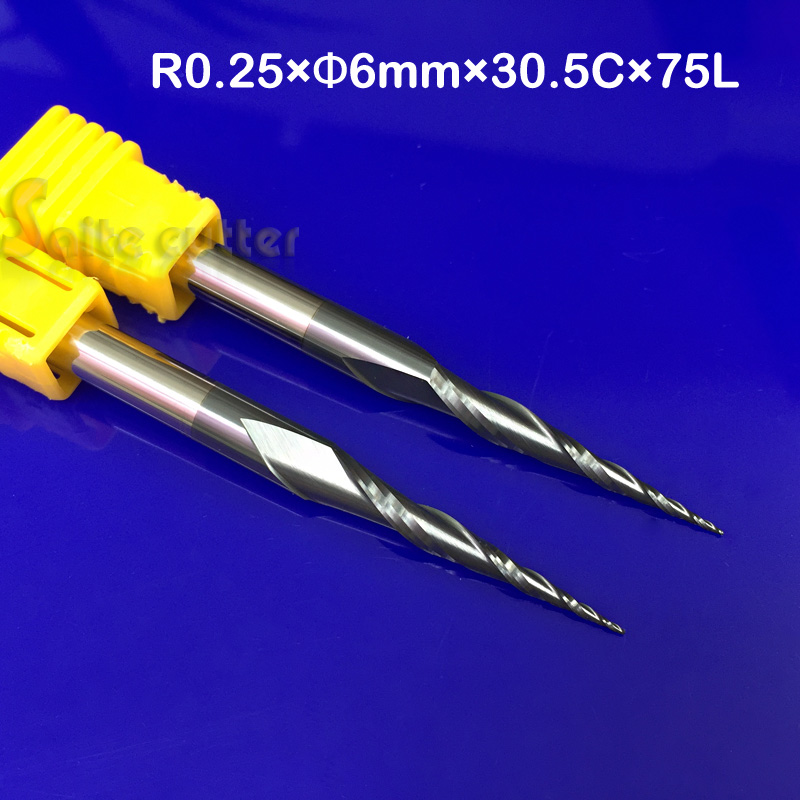 2pcs R0.25*D6*30.5*75L*2F HRC55 Tungsten solid carbide Coated Tapered Ball Nose End Mills taper and cone CNC milling cutter