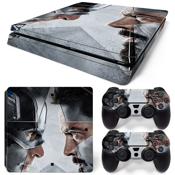 Free Drop Shipping for Captain America skin decals sticker wrap for ps4 slim skin sticker console and 2 controller sticker