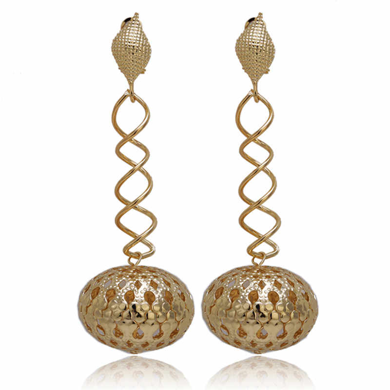 wholesale Top Exquisite Dubai Big Long Drop Dangle Earrings Jewelry Luxury Gold-color Woman Nigerian Wedding Costume Design