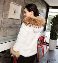HOT100% NEW STYLEwomen REAL RABBIT FUR JACKET SHORT COAT with hood raccoon fur collar WINTER OUTWEAR CUT DESIGN plus size CW2622