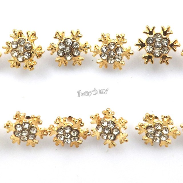 10mm Gold Color Snowflake Earring Studs Inlaid With Clear Crystal 36 Pairs Lot