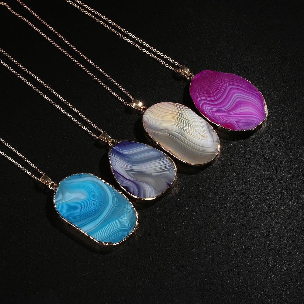 Magic Agate druzy empereur quartz Stone pendentif en or naturel collier Bijoux