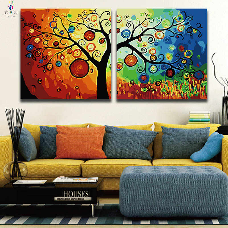 Paints By Numbers Money Tree pictures Paintings Coloring by numbers with colors on Canvas 2 pieces Hoom Sofa background decor