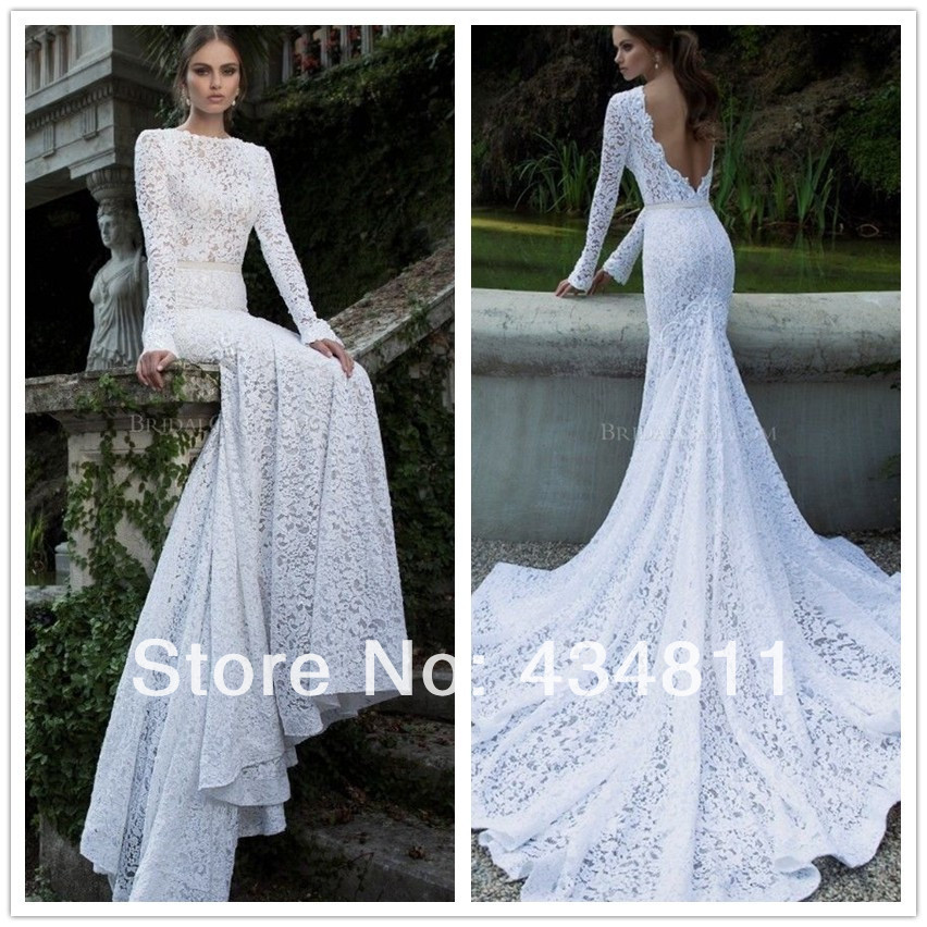 Delicate sheer scoop neckline long sleeve backless lace for Lace wedding dress with long train