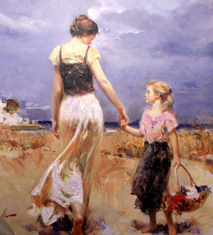 Подарок высокое качество Пино даени живопись для продажи Lets go дома маслом на холсте матери и ребенка женщина живопись современные Книги по ...