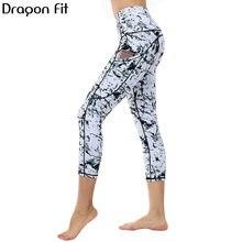 Dragon Fit мраморные Капри, штаны для йоги для женщин, эластичные спортивные Капри для фитнеса, леггинсы с карманами, спортивная одежда, леггинсы для бега, женские