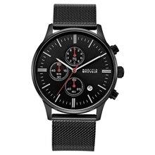 BAOGELA Chronograph Schwarz Neue Uhren Herren Quarzuhr Edelstahlgewebe Band Schlank Männer Gold Uhr Student Sport Armbanduhr