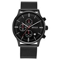 BAOGELA Chronograph Black New Watches Mens Quartz Watch Stainless Steel Mesh Band Slim Men Gold Watch Student Sports Wristwatch