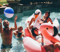 Flamingo Pool Float 150CM Party Water Giant Inflatable Toy Pink Cute Boia Tube Ride On Swim Ring For Holiday Fun Party