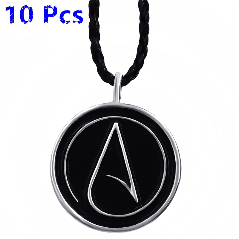 Wholesale 10 Pcs Mens Womens Atheist Atheism Symbol Silver Pewter Pendant Necklace Jewelry
