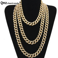 Hip Hop Bling Fully Iced Out Rhinestone Miami Curb Cuban Link Chain Necklace Simulated Gemstone Hipster Electroplated Jewelry
