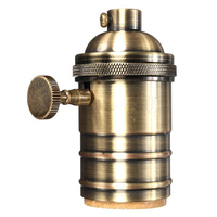 E26 E27 Retro Vintage Antique Edison Brass Copper Lamp Light Bulb Holder Socket Antique Brass