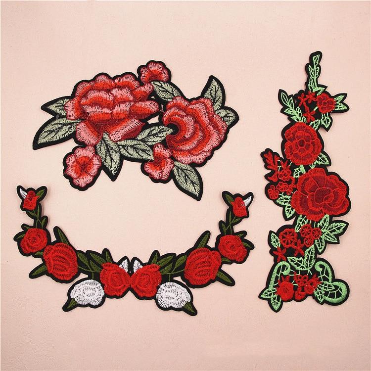 1 piezas grandes rosas rojas bordado applique parches para ropa de hierro en patch applique para diy moda ropa bolsas shooes lshb521 en parches de hogar y - Fotos De Rosas Rojas Grandes