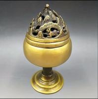 Chinese Buddhism Incense Copper Burner Censer