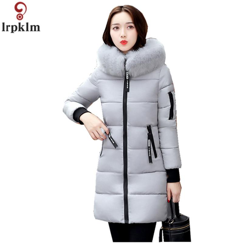 Frauen Winter Jacke Lange Baumwolle Gefütterte Parkas Damen Pelz Kragen Plus Größe Baumwolle Jacke Dicke Weibliche Winter Kleidung CH419