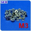50pcs M3 Nut 304 Stainless Steel Hex Head Flange Nuts Flange Serrated Spinlock Thread Nutsert