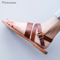 Stylesowner Sumemr Flat Cow Leather Strap Lace Buckle Shoes Casual Handmade Clip Toe Sandals TPR Bottom Top Quality Sandals New