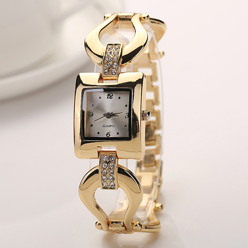 Fashion Lady Golden Tone Chain Bracelet Square Dial Analog Quartz Wrist Watch fashion lady s pu band quartz analog waterproof bracelet wrist watch black 1 x lr626