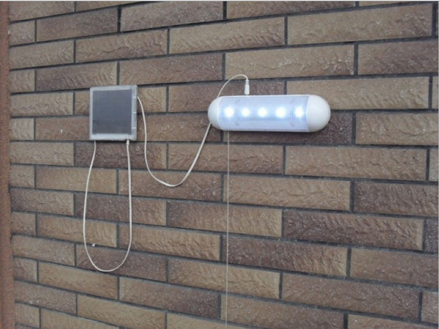 Outdoor Bright Solar Powered Light 5LEDs Solar wall lamp with Pull Cord Rope Switch for Shed Garage Corridor Use