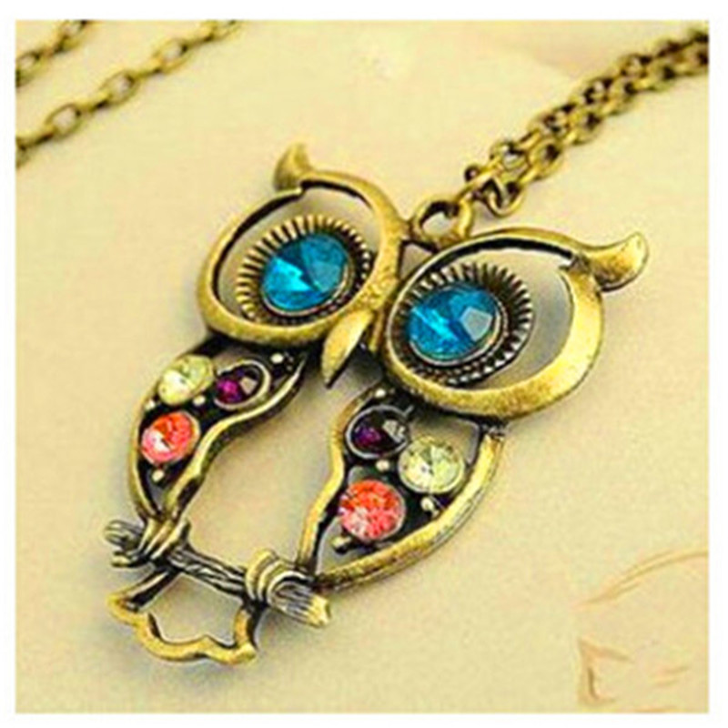 x15 Vintage Crystal Owl Pendant Necklaces For Women Long Necklace Sweater Accessories Gold Color Animal Neklaces Fashion Jewelry
