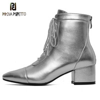 Prova Perfetto Winter Fashion Silver Ankle Boots Women Cross tied Real Leather High Heel Boots Square Toe Zapatos Mujer Boots