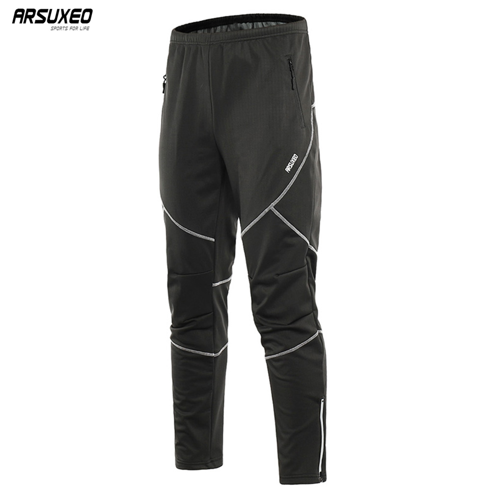 ARSUXEO Men's Winter Warm Up Thermal Fleece pants Multi Sports Trousers Running Bike Cycling Pants Windproof Waterproof 18Y arsuxeo winter warm up thermal fleece cycling caps mtb bike bicycle windproof waterproof hats sports running caps pt02