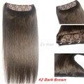 #2 Escuro brwon Cabeça Completa 1 pcs conjunto cabeça cheia Brasileiro Virgem remy extensões de cabelo humano clipes em/em 26 cores disponíveis