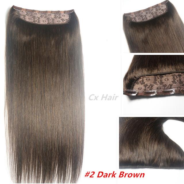#2 Oscuro brwon Cabeza Completa 1 unids conjunto cabeza llena Brasileña remy Virginal extensiones de cabello humano clips en/en 26 colores disponibles