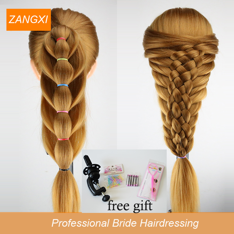 Thick Blonde Long Hair Training Head Professional Bride Hairdressing Dummy Manikin Dolls Good Synthetic Mannequin
