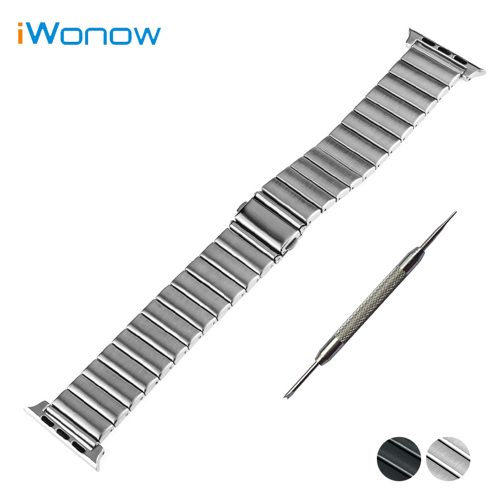 Stainless Steel Watchband for Apple Watch iWatch 38mm 42mm Press Buckle Band Wrist Strap Bracelet Black Silver + Tool + Adapters stylish 8 led blue light digit stainless steel bracelet wrist watch black 1 cr2016