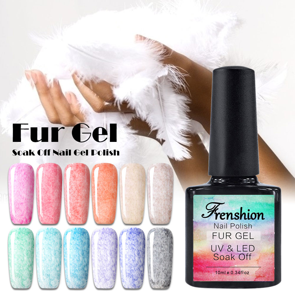 frenshion 10ml fur gel nail polish uvled gel nail polish soak off bling vernis semi permanent. Black Bedroom Furniture Sets. Home Design Ideas