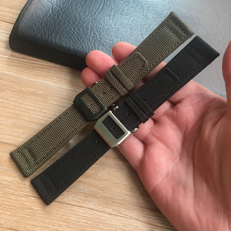 MERJUST 20mm 21mm 22mm Green Black Nylon Leather Watch Strap Canvas Watch band  For IWC PORTUGIESER CHRONOGRA Mark Bracelet-in Watchbands from Watches