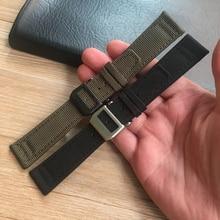 MERJUST 20mm 21mm 22mm Green Black Nylon Leather Watch Strap Canvas Watch band  For IWC PORTUGIESER CHRONOGRA Mark Bracelet