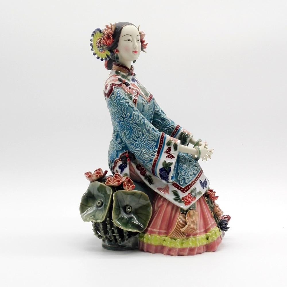 Pure Manual Figurine Glazed Ceramic Sculpture Decoration Statue Crafts Classical Ladies Figure Chinese Style
